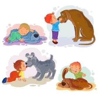 Ilustracje clipartów małych chłopców i ich psów