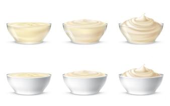 Ilustracje wektorowe majonezu, śmietany, sosu, słodkich śmietany, jogurt, krem kosmetyczny