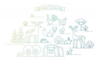 Ilustracje wektorowe zwierząt leśnych.