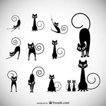 Ilustracji wektorowych czas: czarny kot kolekcji sylwetka