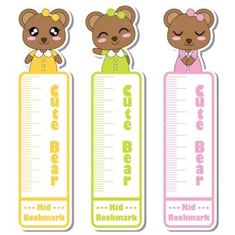 Ilustracji wektorowych kreskówek z cute Niedźwiedź Dziewczynka uśmiecha się na kolorowe tło nadaje się dla kid znak zakładki projektu, znacznik zakładki i naklejki zestaw