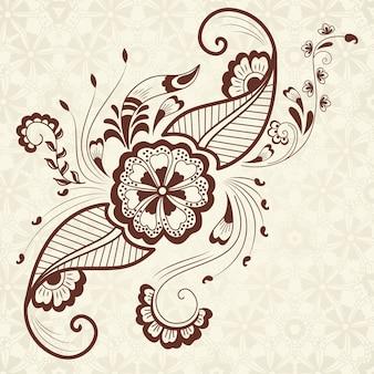 Ilustracji wektorowych mehndi ozdoba. Tradycyjny indyjski styl, ozdobne elementy kwiatowe do tatuażu henny, naklejki, projekt mehndi i jogi, karty i nadruki. Streszczenie kwiatowy ilustracji wektorowych.