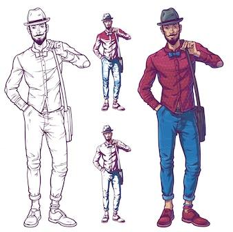 Ilustracji wektorowych modnego faceta