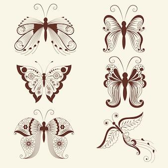 Ilustracji wektorowych motyli w mehndi ozdoba. Tradycyjny indyjski styl, ozdobne elementy kwiatowe do tatuażu henny, naklejki, projekt mehndi i jogi, karty i nadruki.