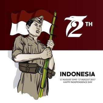 Indonezja niezależności tła