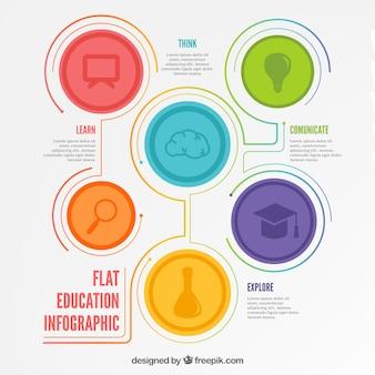 Infografia Edukacja w płaskiej konstrukcji
