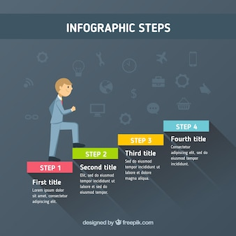 Infograficzne kroki z człowiekiem biznesu