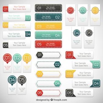 Infographic kolekcja etykiet
