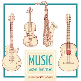 Instrumenty muzyczne ilustracje