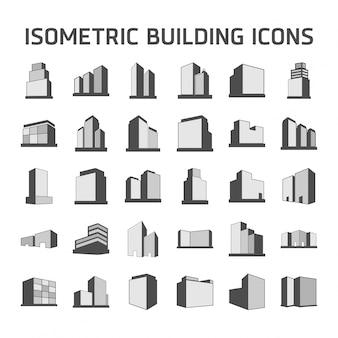 Izometryczne ikony budynku