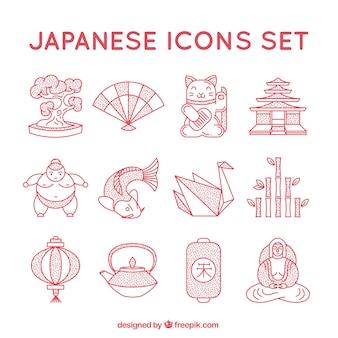 Japoński ikony kolekcji