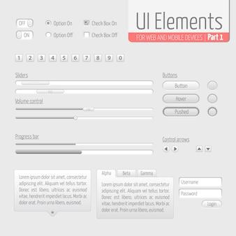 Jasne elementy interfejsu użytkownika Część 1: suwaki, pasek postępu, przyciski, forma autoryzacji, kontrola głośności itp.