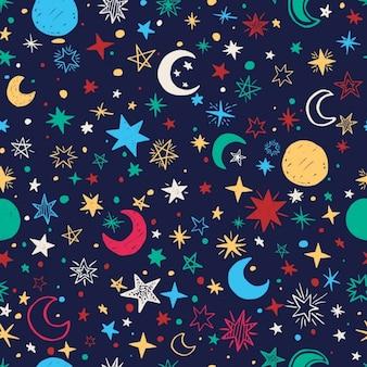 Jednolite wzór z gwiazd i księżyców Handdrawn