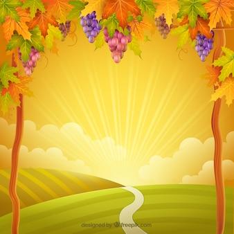 Jesienny krajobraz w tle