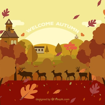 Jesienny krajobraz z jeleni
