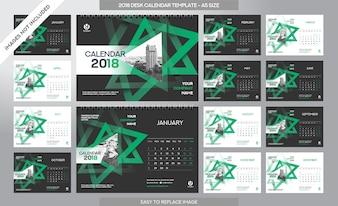 Kalendarz biurowy 2018 szablon - 12 miesięcy włączone - Rozmiar A5 - Art Brush Temat