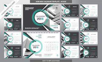 Kalendarz biurowy 2018 szablon - 12 miesięcy w zestawie - rozmiar A5