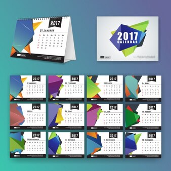 Kalendarz szablon z wielokątnych kształtach