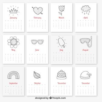 Kalendarz z szkicowy sezonowych elementów