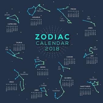 Kalendarz Zodiaku 2018 elegancki design
