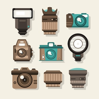 Kamery retro w płaskiej konstrukcji