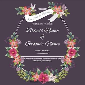 Karta ślub z ręcznie rysowane kwiatów szczegółowo