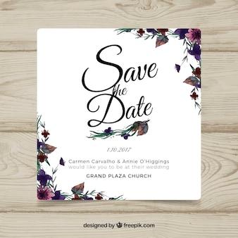 Karta ślubna Akwarele z nowoczesnymi kwiatami