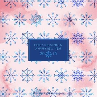Karta akwarela płatki śniegu