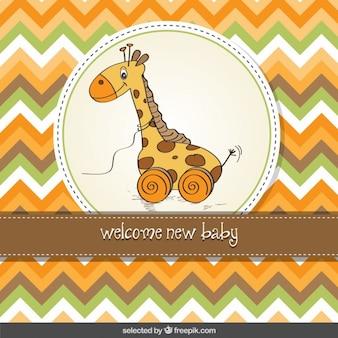 Karta baby shower z zabawki żyrafa