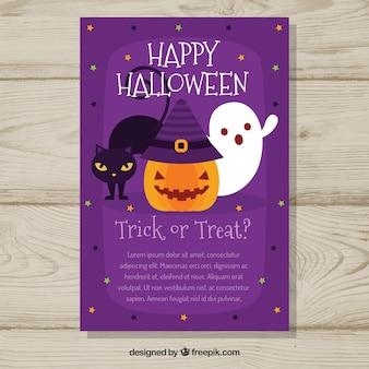 Karta Halloween z kotem, duchem i dyni