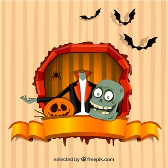 Karta Halloween z potworem bez głowy