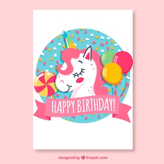Karta urodzinowa z jednorożca i balonów