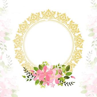 Karta z pozdrowieniami lub zaproszeniem z różowymi kwiatami.