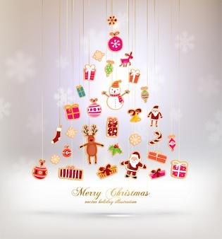 Kartka świąteczna drzewa plakat notatnik