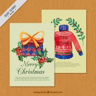 Kartki świąteczne malowane akwarelami