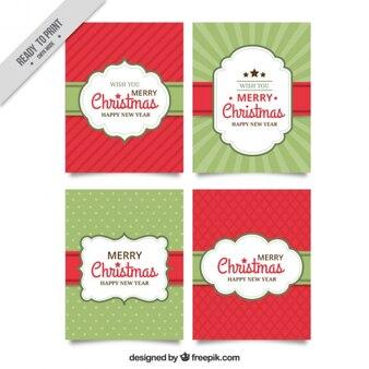 Kartki świąteczne ustawione w stylu vintage
