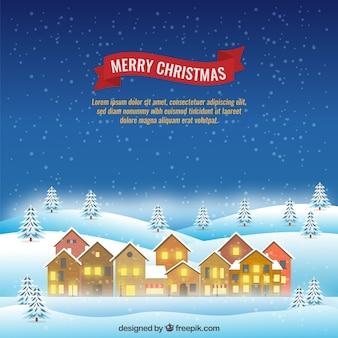 Kartki świąteczne z śnieżny krajobraz