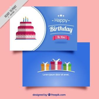kartki urodzinowe w płaskiej konstrukcji
