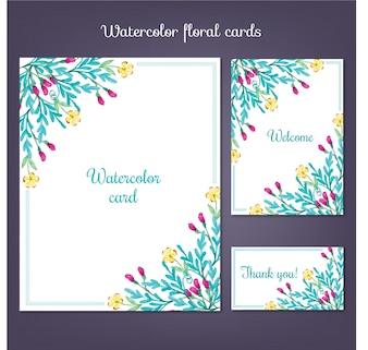 Karty Akwarele z letnich kwiatów