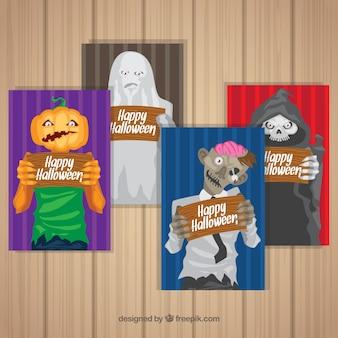 Karty z Halloween ze śmiałymi postaciami