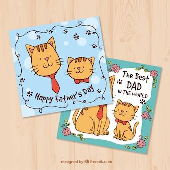 Karty z pozdrowieniami z ręcznie rysowanymi kotami na dzień ojca