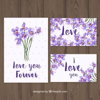 Kilka kart z bukietami kwiatów akwarela