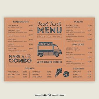 Klasyczne menu ciężarówek z ręcznie narysowanym stylem