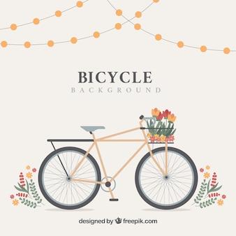 Klasyczny motocykl z koszem i kwiatami