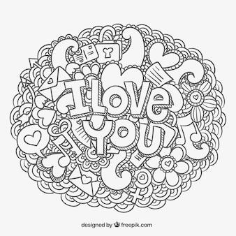 Kocham Cię wiadomość i gryzmoły