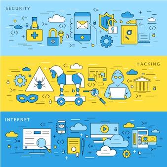 Kolekcja bannerów bezpieczeństwa internetowego