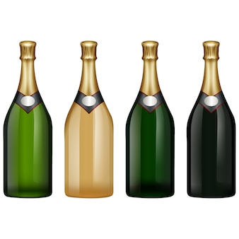 Kolekcja butelek szampana
