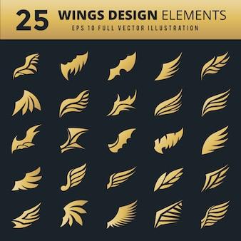 Kolekcja dekoracyjne skrzydła