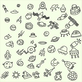 Kolekcja doodles kosmicznych ufo kosmici meteorytów sausers