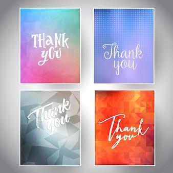 Kolekcja dziękuję karty z różnych wzorów